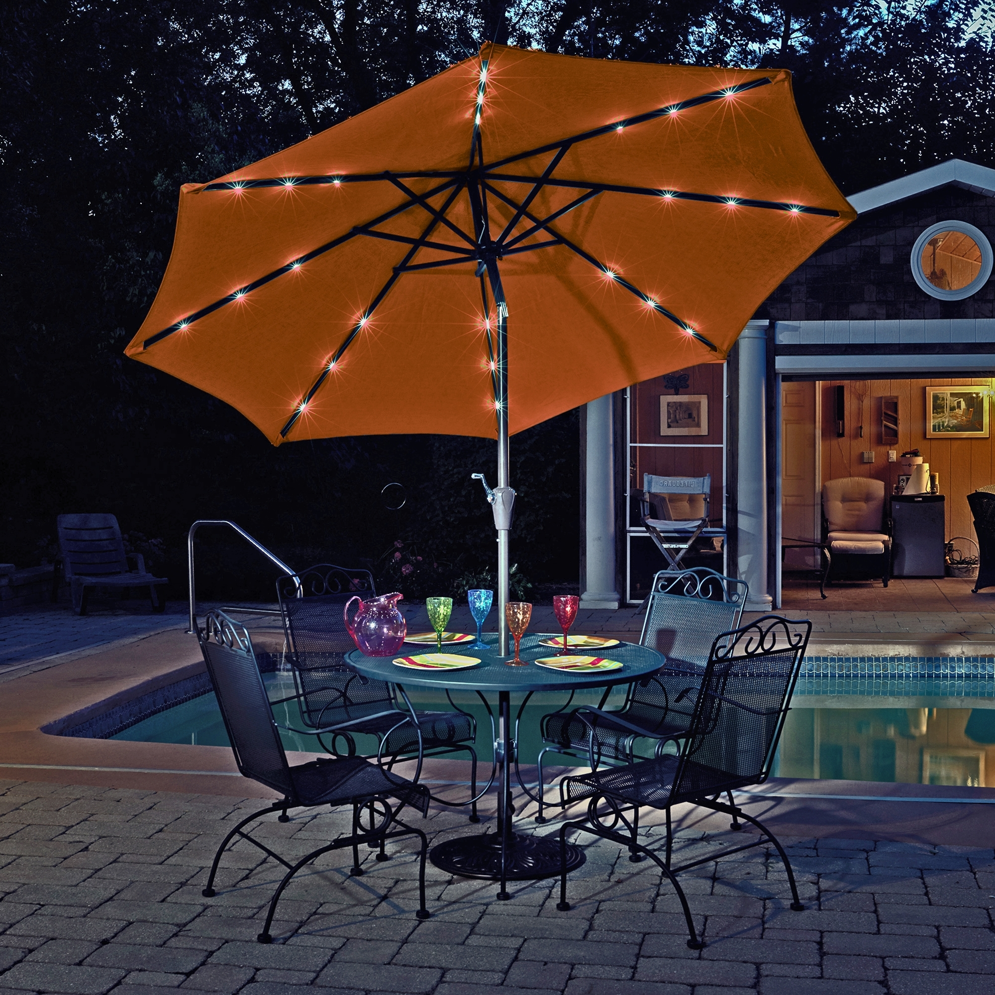 Island Umbrella Mirage Fiesta 9 Ft Market Solar Led Auto Tilt Patio Regarding 2018 Solar Patio Umbrellas (Gallery 14 of 20)