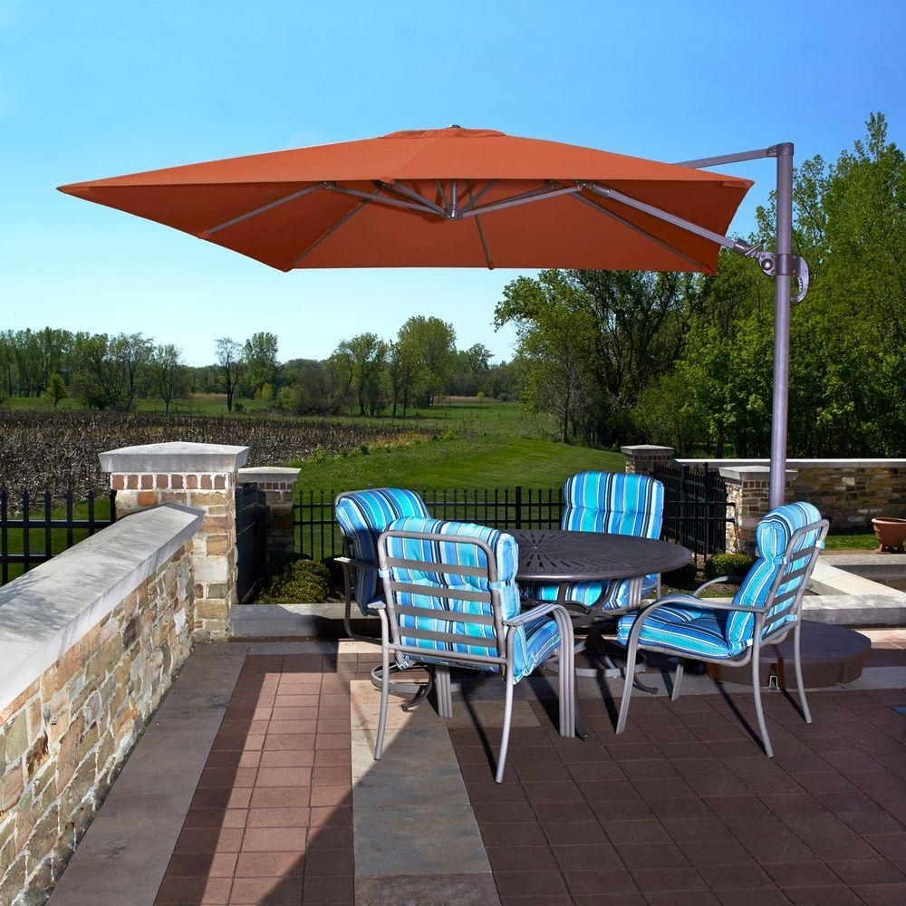 Island Umbrella Santorini Ii 10 Ft. Square Cantilever Patio Umbrella In Latest Upscale Patio Umbrellas (Gallery 12 of 20)