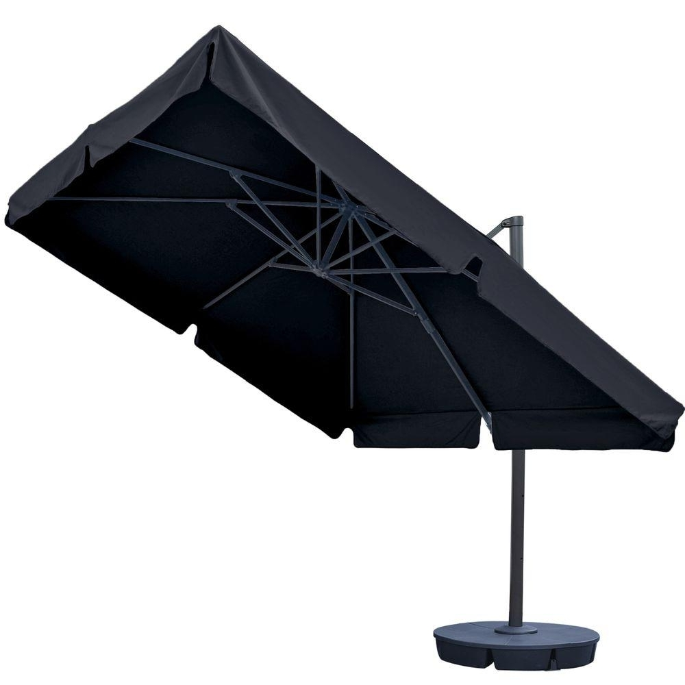 Island Umbrella Santorini Ii 10 Ft. Square Cantilever Patio Umbrella Inside Best And Newest Sunbrella Black Patio Umbrellas (Gallery 20 of 20)