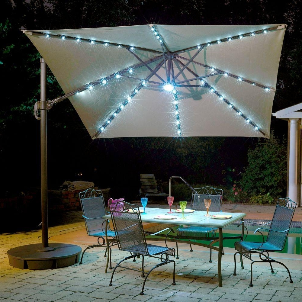 Island Umbrella Santorini Ii Fiesta 10 Ft. Square Cantilever Patio Inside Favorite Square Cantilever Patio Umbrellas (Gallery 2 of 20)
