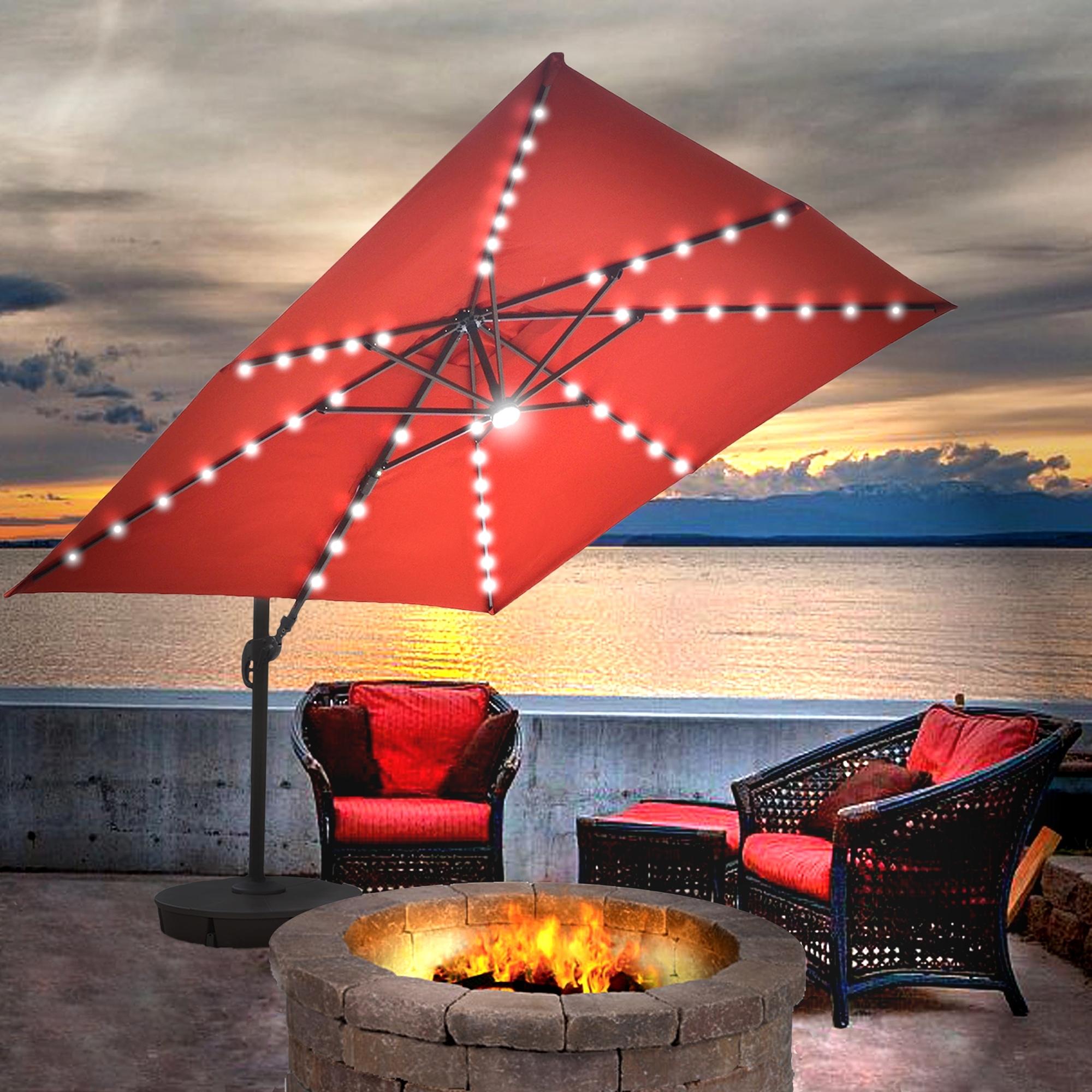 Island Umbrella Santorini Ii Fiesta 10 Ft Square Cantilever Solar Pertaining To Most Current Solar Patio Umbrellas (View 7 of 20)