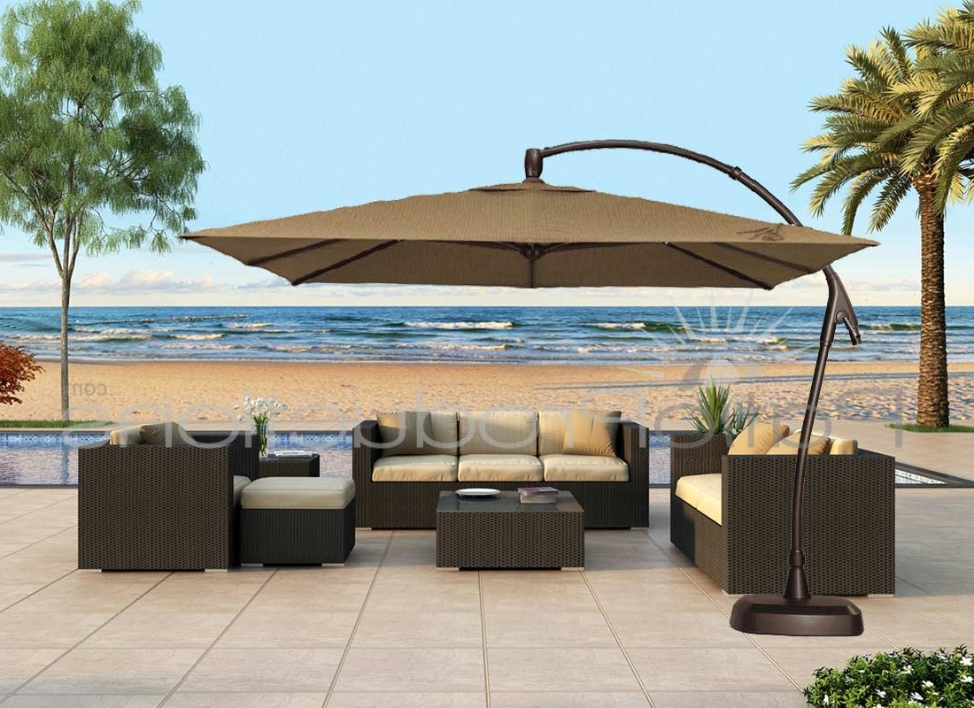 Jumbo Patio Umbrellas Within Most Up To Date Patio Ideas Large Cantilever Umbrella With Brown – Arelisapril (View 11 of 20)