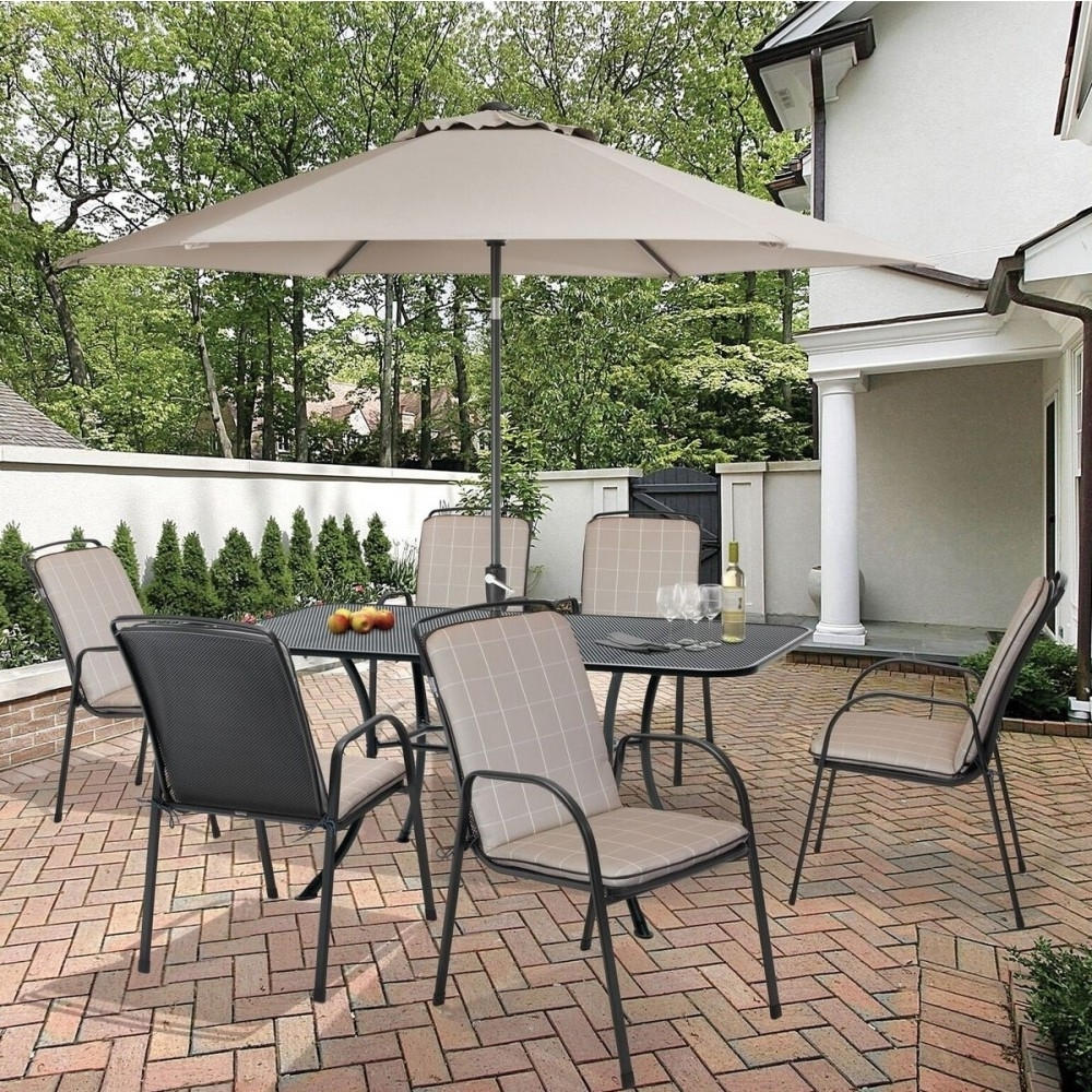 Kettler Patio Umbrellas With Best And Newest Kettler Savita 6 Seat Rectangular Metal Garden Furniture Set (Gallery 12 of 20)
