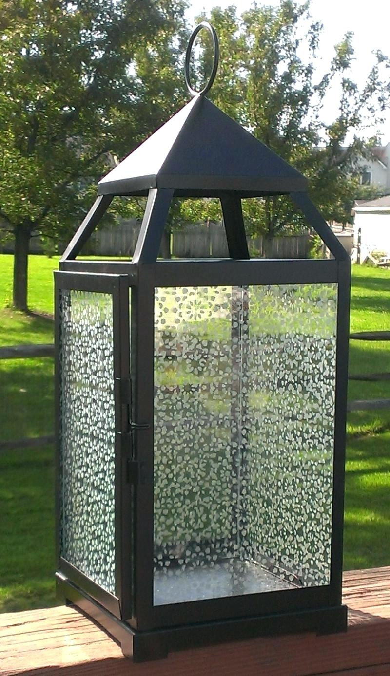 Large Outdoor Decorative Lanterns Inside 2018 Candles ~ Large Garden Candle Lanterns In X Black Glass Solar (View 7 of 20)