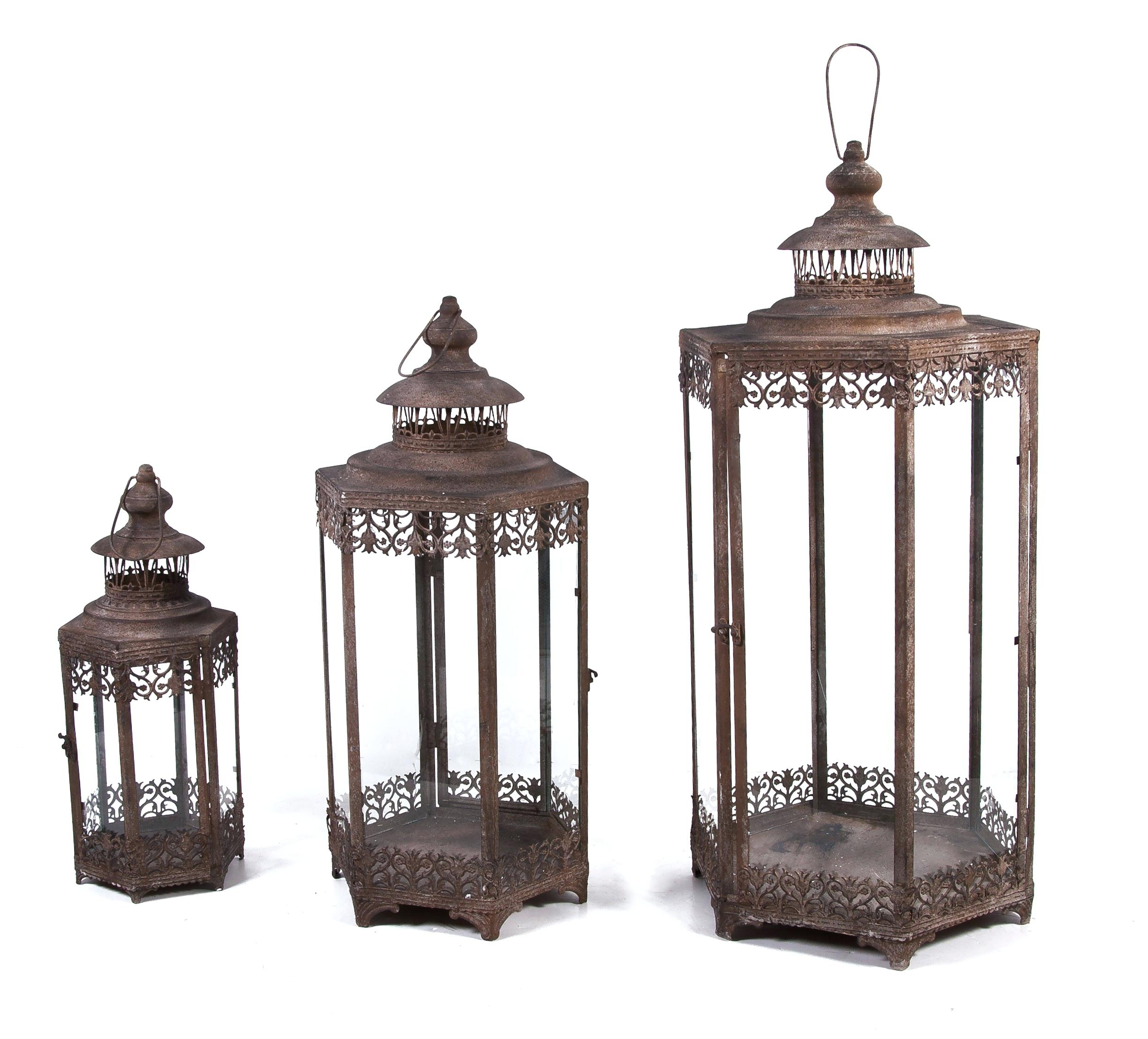 Large Outdoor Rustic Lanterns Inside Newest Candles ~ Large Garden Candle Lanterns In X Black Glass Solar (Gallery 19 of 20)