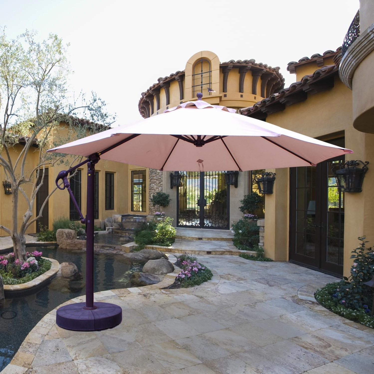 Latest 11 Cantilever Patio Umbrella With Base Treasure Garden Cantilever Pertaining To 11 Ft (View 7 of 20)