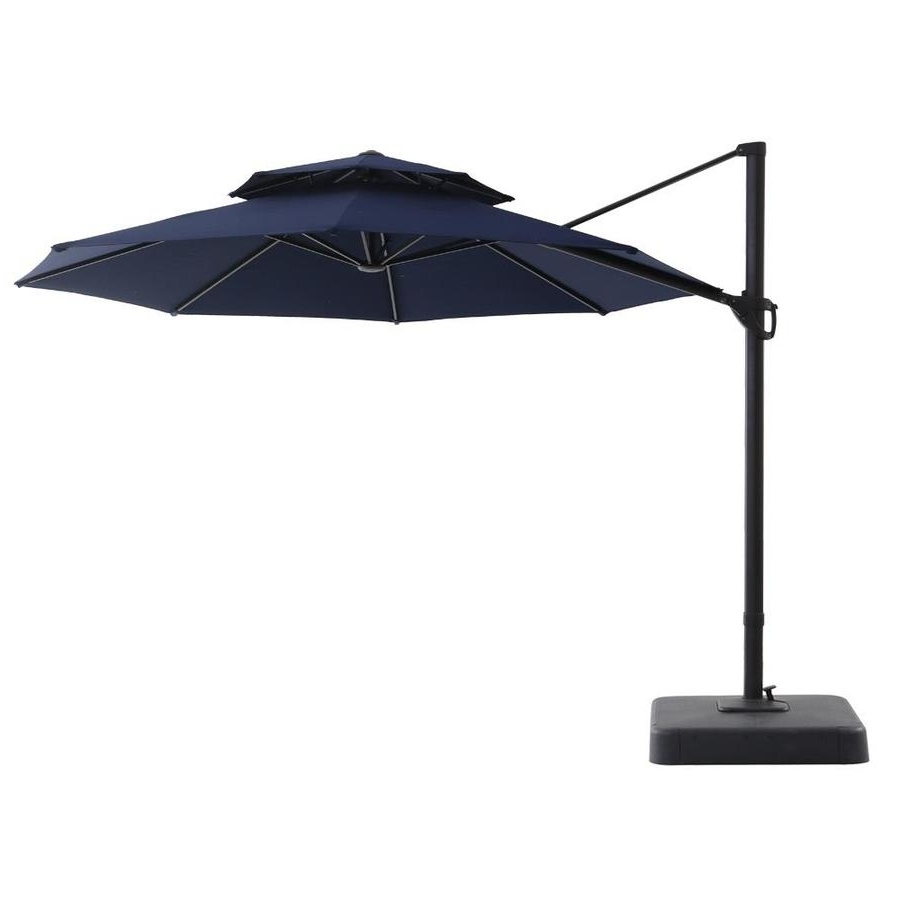 Latest 11 Foot Patio Umbrellas In Shop Royal Garden Navy Offset 11 Ft Patio Umbrella With Base At (View 12 of 20)
