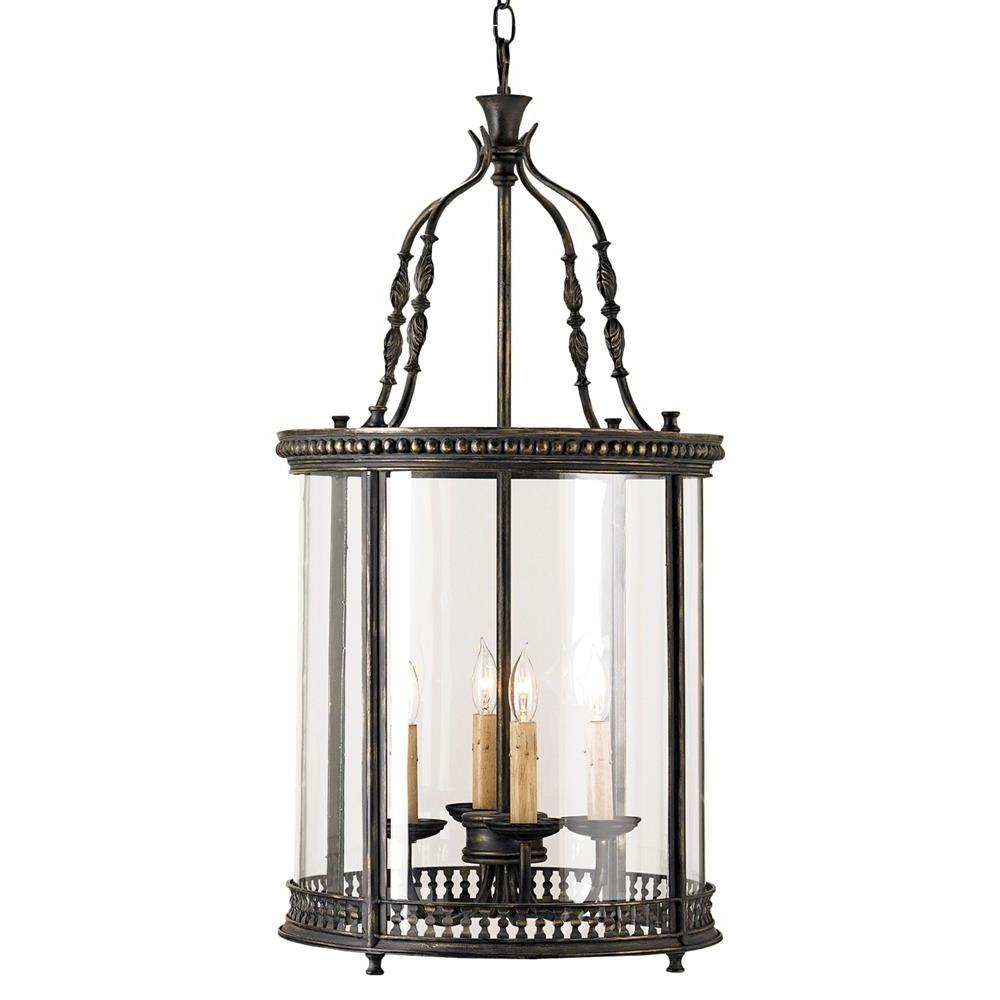 Latest Gardner Vintage Glass Panels French Black 4 Light Lantern Pendant For Vintage Outdoor Lanterns (View 11 of 20)