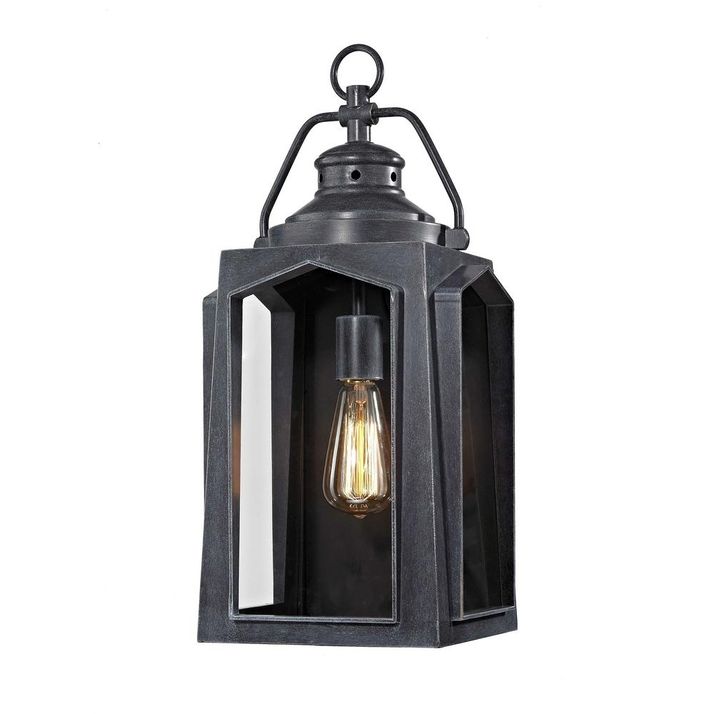 Latest Large Outdoor Lanterns Intended For Home Decorators Collection 1 Light Charred Iron Large Outdoor Wall (View 9 of 20)