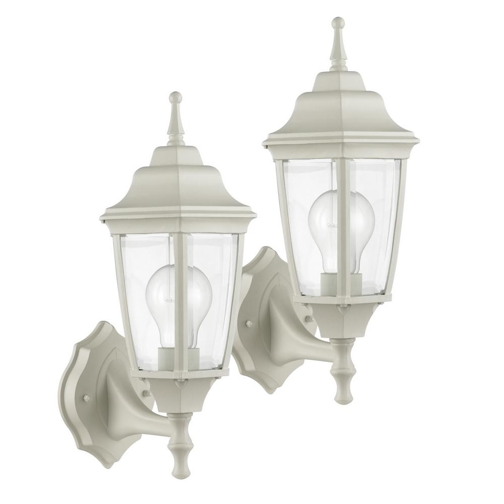 Latest Outdoor Lanterns Without Glass Throughout Globe Electric Oxford Light Matte White And Clear Glass Outdoor (View 11 of 20)