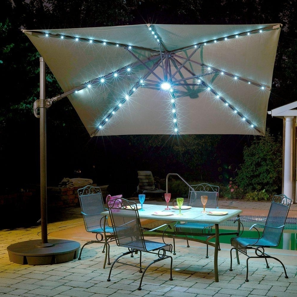 Latest Patio Umbrellas From Costco Within Blue Led Lighted Patio Umbrella — Cdbossington Interior Design : Led (View 11 of 20)