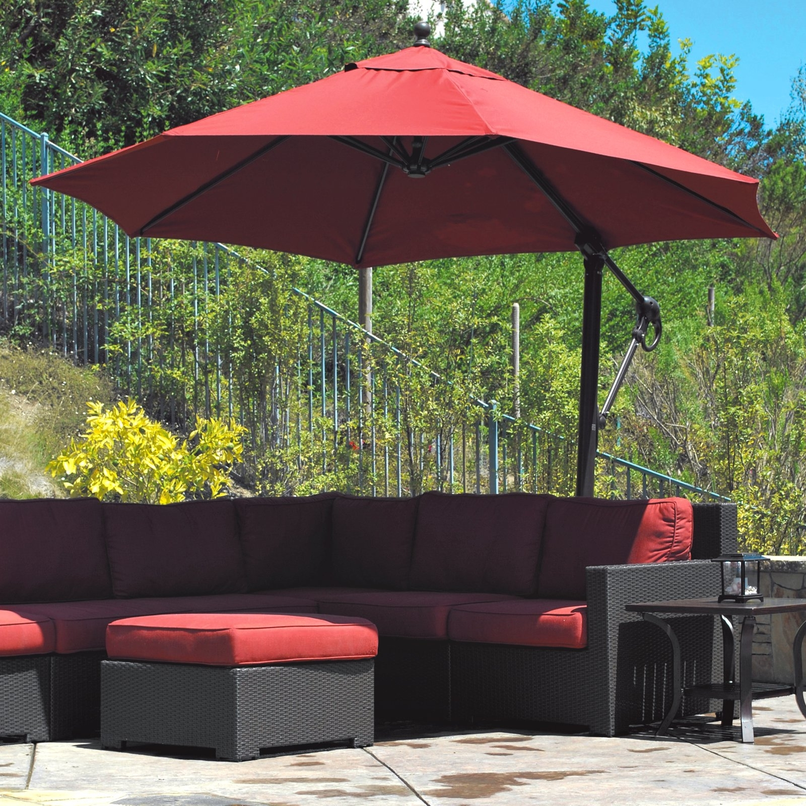 Latest Patio Umbrellas With Wheels For Galtech Sunbrella Easy Tilt 11 Ft. Offset Umbrella With Wheeled Base (Gallery 14 of 20)