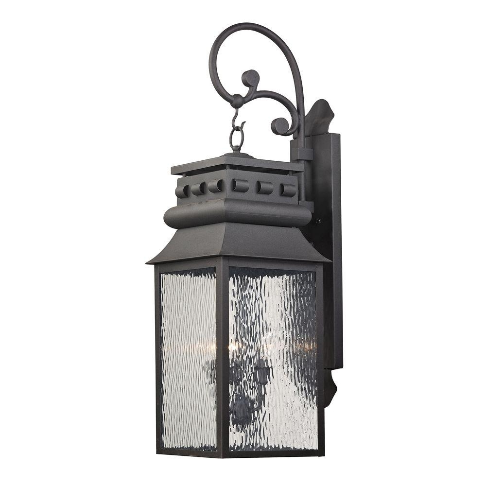 Latest Titan Lighting Georgetown Collection 3 Light Charcoal Outdoor Sconce With Jumbo Outdoor Lanterns (View 6 of 20)