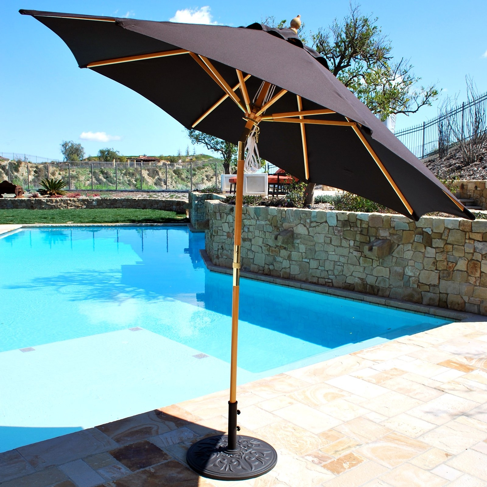 Latest Wooden Patio Umbrellas With Regard To Wood Patio Umbrellas Custom Wooden Patio Umbrellas – Home Design Ideas (View 12 of 20)