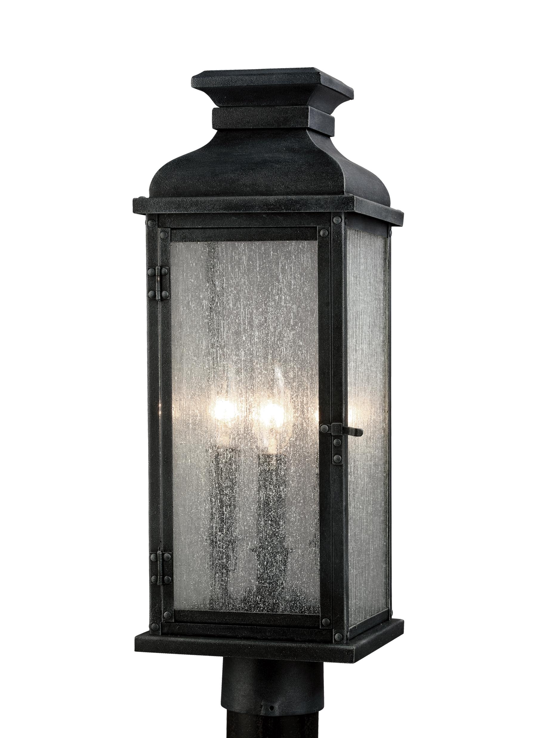 Latest Zinc Outdoor Lanterns Within Ol11107dwz,3 – Light Outdoor Post,dark Weathered Zinc (View 10 of 20)