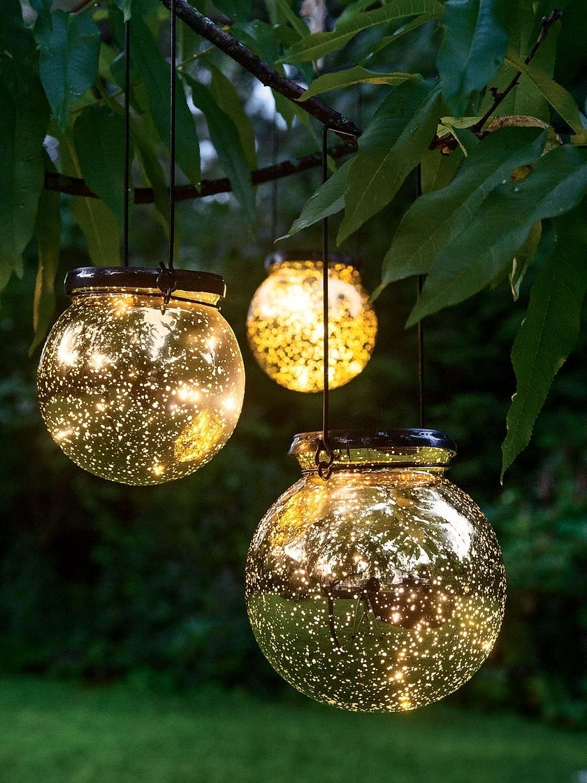 Led Fairy Dust Ball: Outdoor Battery Operated Globe Lights – Mercury Pertaining To Fashionable Outdoor Battery Lanterns For Patio (View 8 of 20)