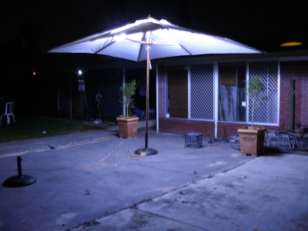 Led Patio Umbrellas Within Most Current Led Outdoor Umbrella Lighting: 4 Steps (With Pictures) (View 13 of 20)