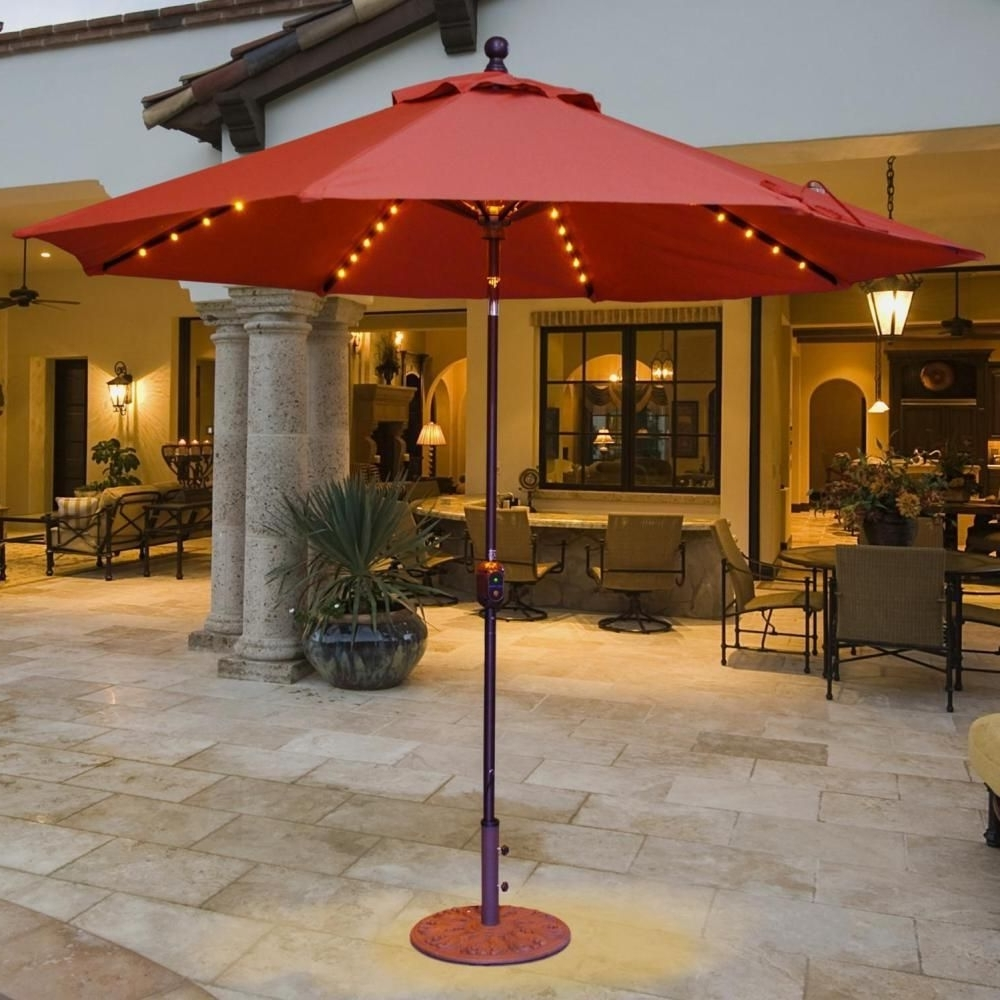 Lighted Patio Umbrellas Inside Well Known Galtech 9 Ft Aluminum Patio Lighted Umbrella With Crank Lift And (Gallery 13 of 20)