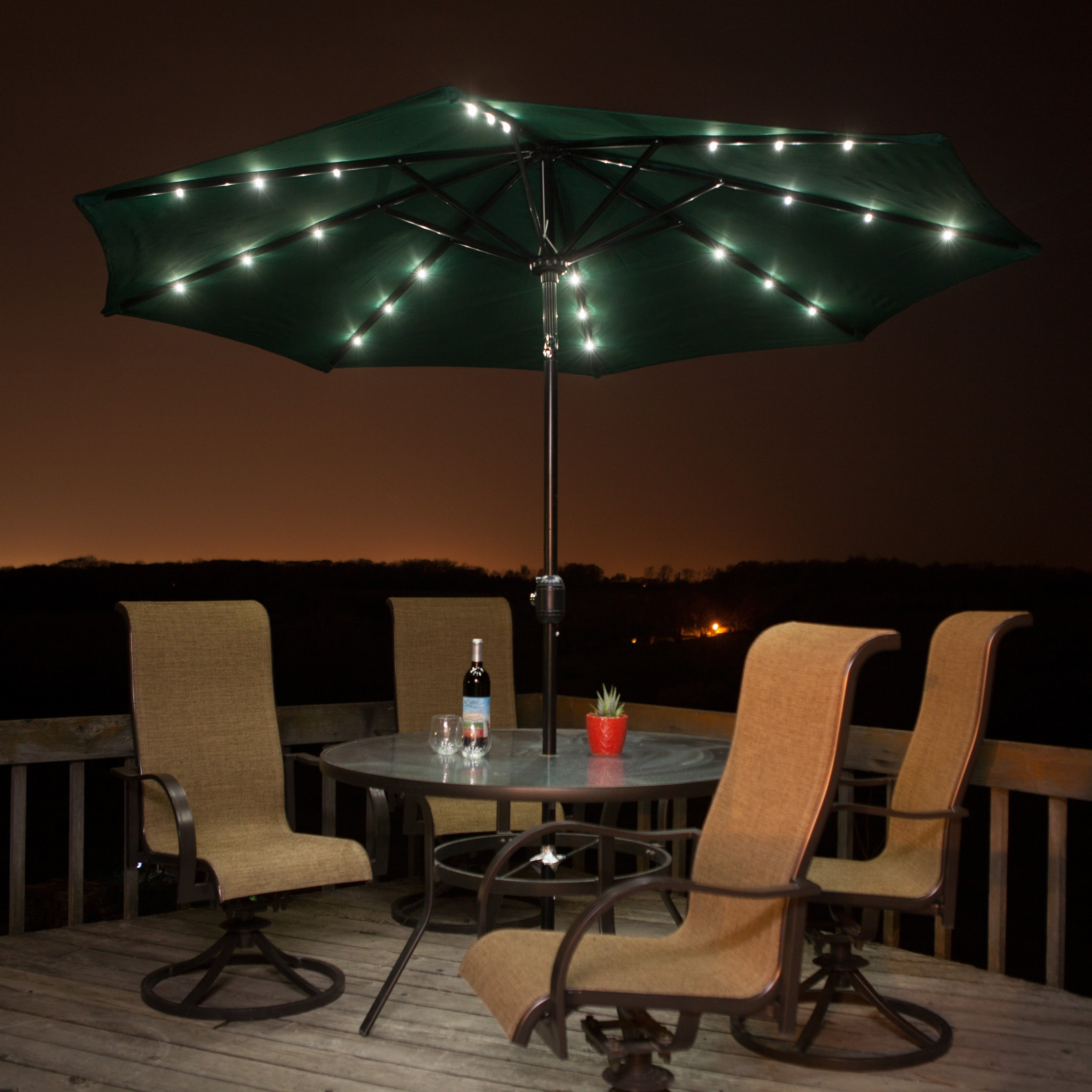 Lighted Patio Umbrellas — Mistikcamping Home Design : Different With 2018 Solar Patio Umbrellas (Gallery 8 of 20)