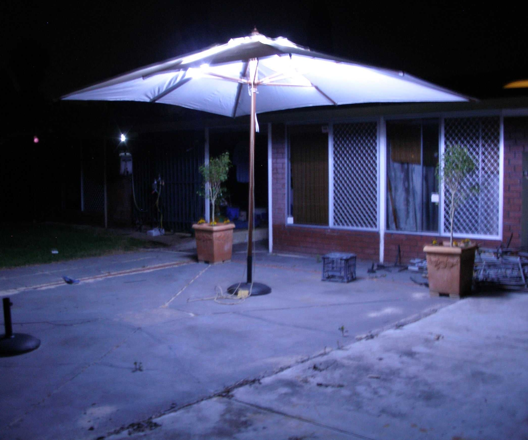 Lighted Umbrellas For Patio For Well Known Incredible Lighted Umbrella For Patio Collection Including Outdoor (View 12 of 20)