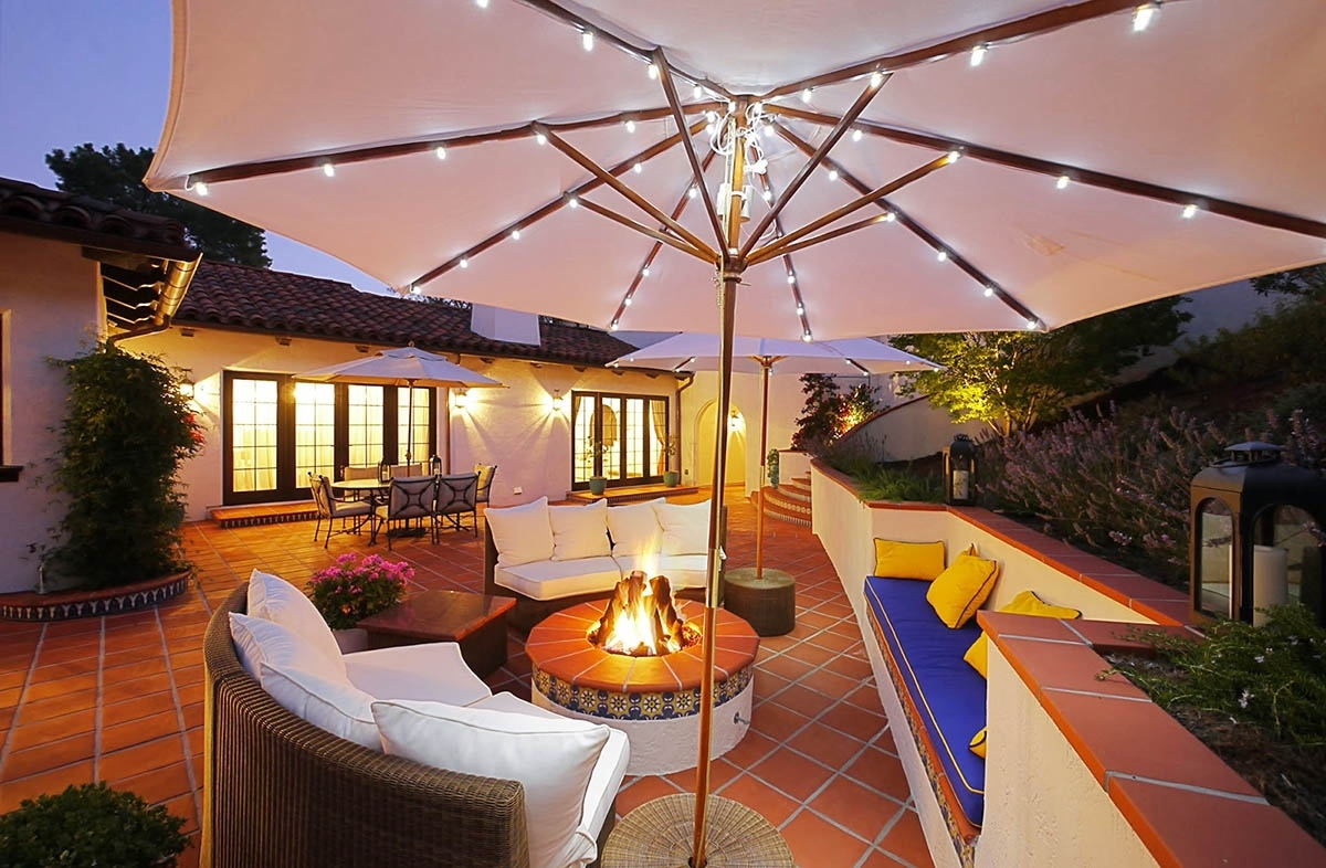 Lighted Umbrellas For Patio Intended For Newest Led Outdoor Umbrella Lights Battery Operated — Life On The Move (View 19 of 20)
