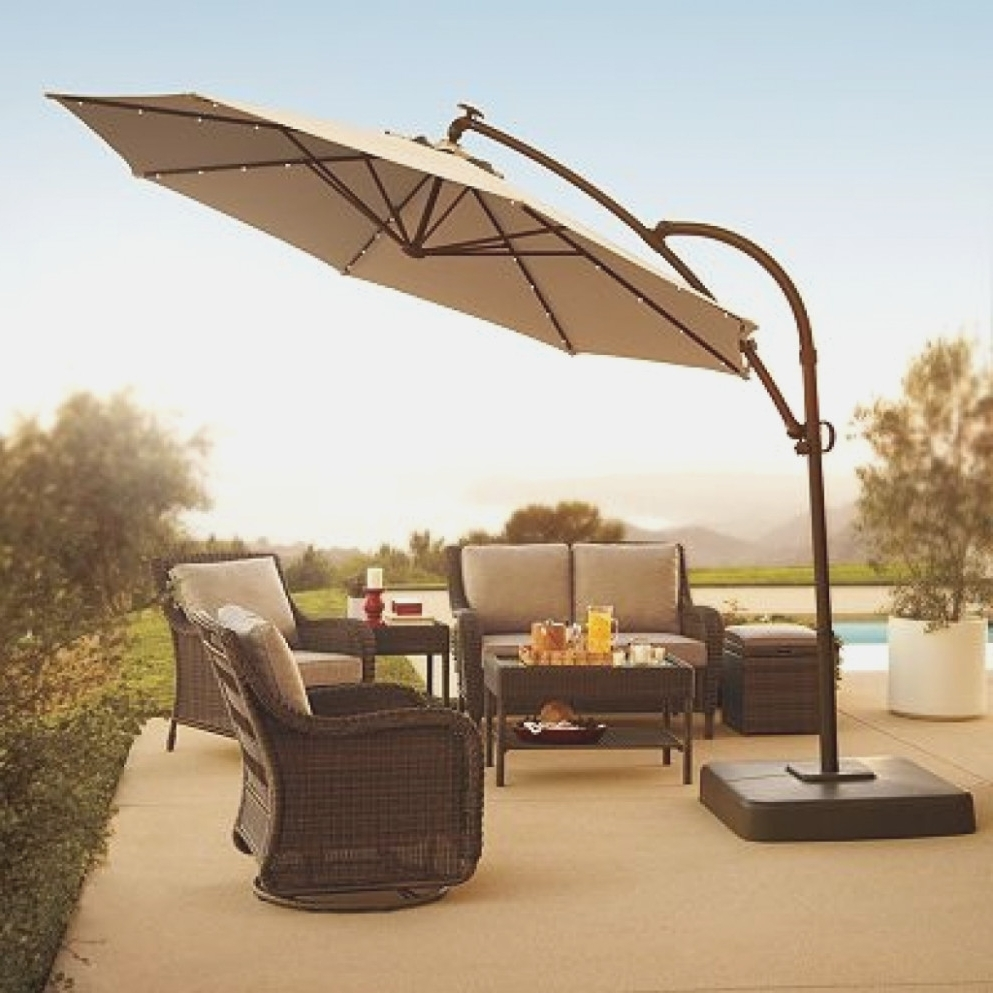 Lighted Umbrellas For Patio Regarding Best And Newest Lighted Outdoor Patio Umbrellas – Outdoor Lighting Ideas – Lighted (View 20 of 20)