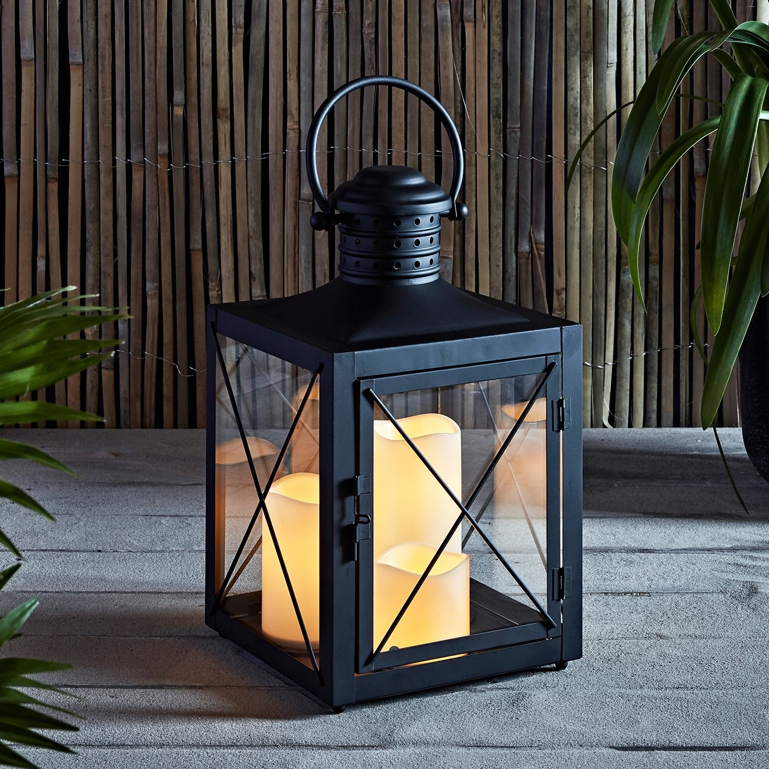 Lights4Fun, Inc.: Square Black Battery Operated Lantern With 3 Within 2018 Outdoor Lanterns With Battery Operated Candles (Gallery 16 of 20)