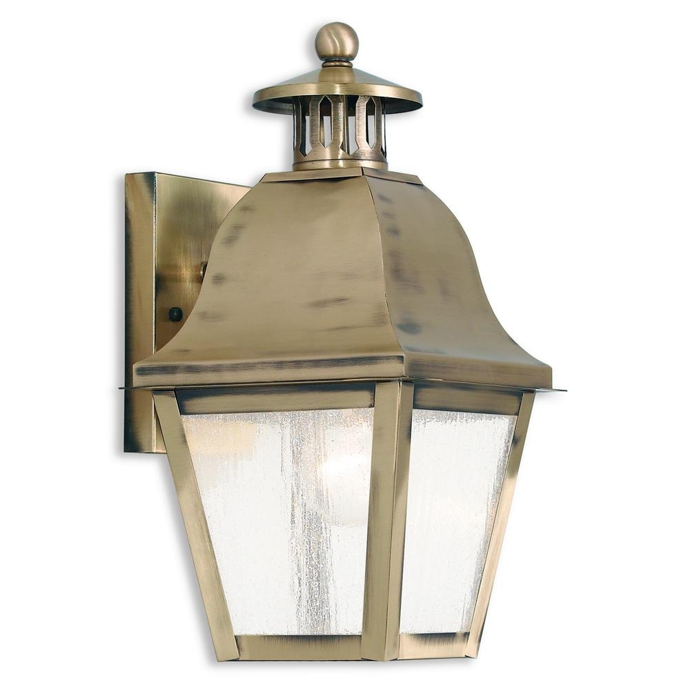Livex Lighting Amwell 1 Light Antique Brass Outdoor Wall Mount Throughout Newest Brass Outdoor Lanterns (Gallery 15 of 20)