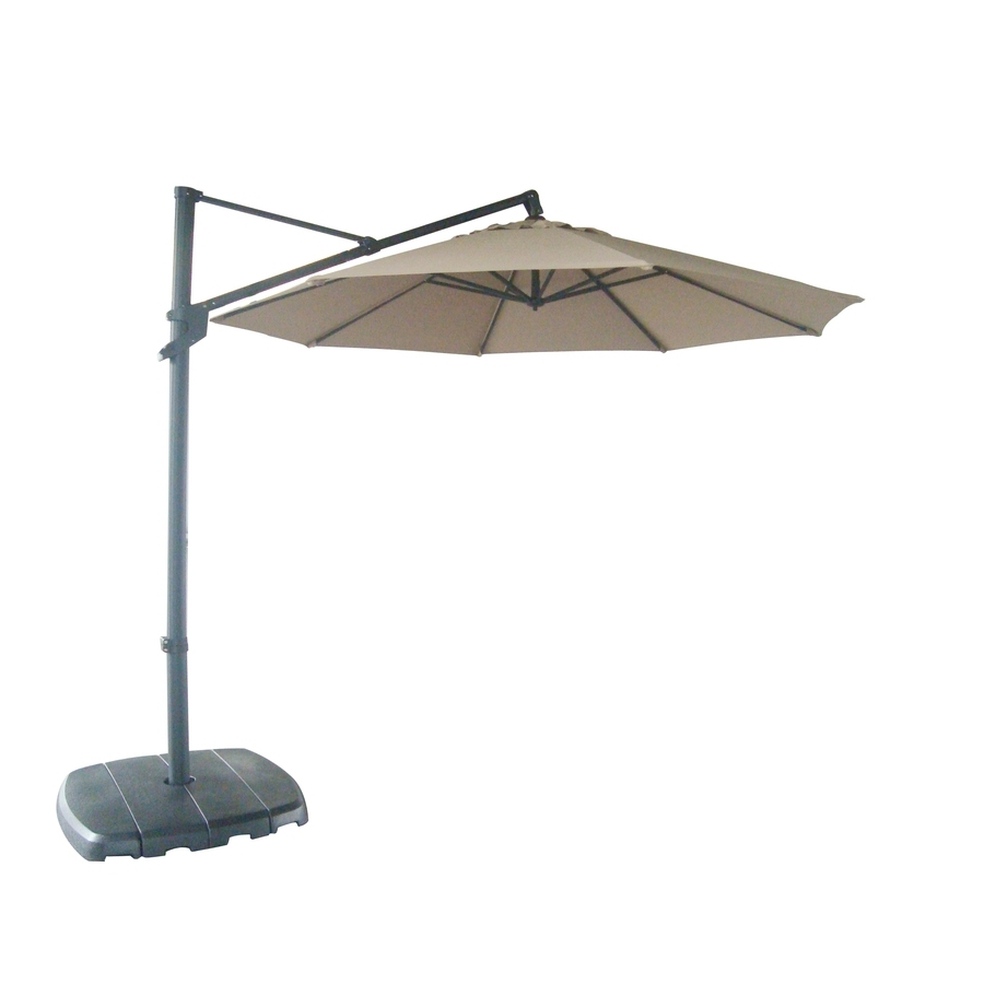 Lowes Offset Patio Umbrellas Within Famous Shop Allen + Roth Offset Patio Umbrella With Base (Common: (View 3 of 20)