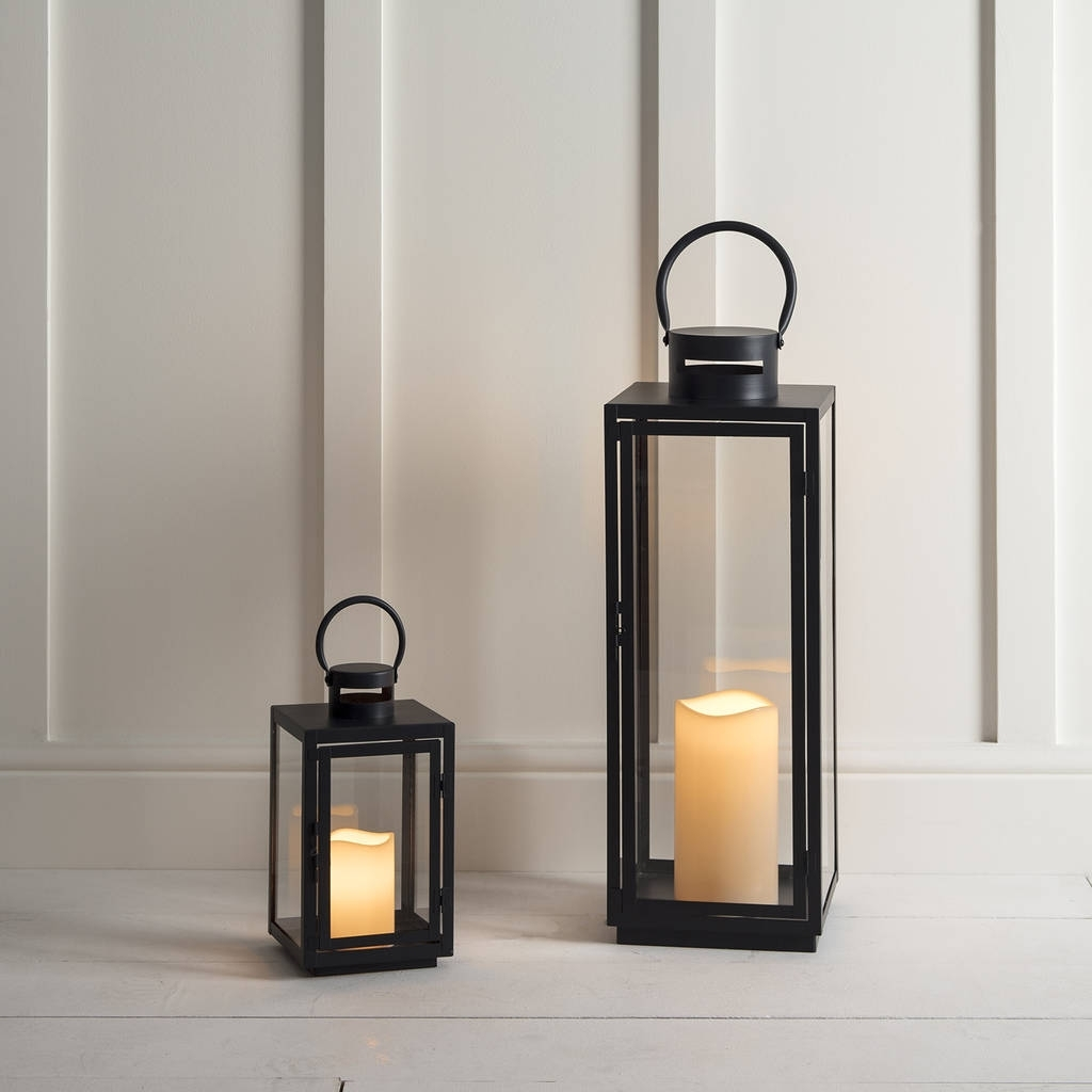 Malvern Outdoor Battery Candle Lantern Setlights4fun For Current Outdoor Lanterns With Battery Candles (View 17 of 20)