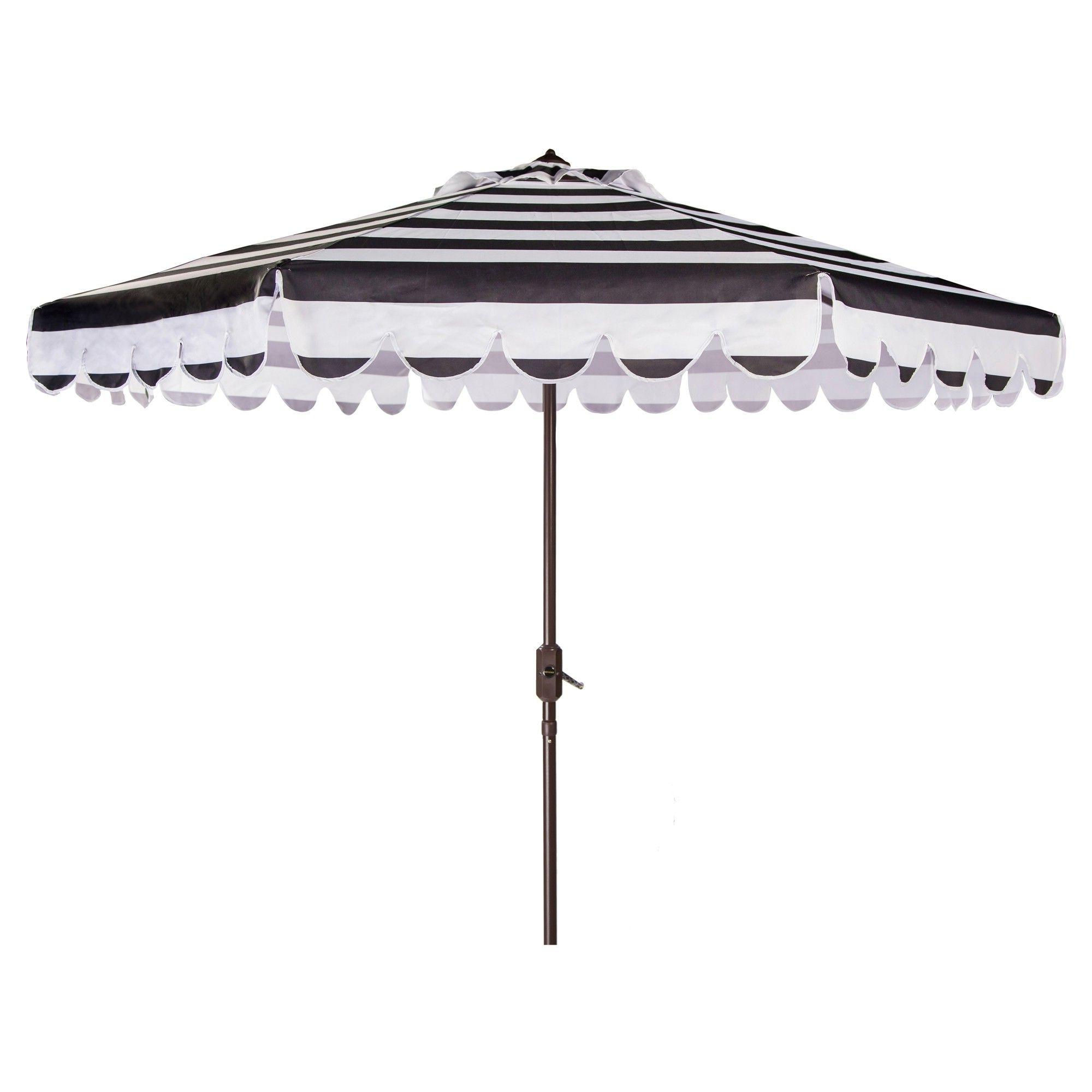 Maui Single Scallop Striped 9' Crank Auto Tilt Umbrella – Black With Popular Black And White Striped Patio Umbrellas (View 4 of 20)