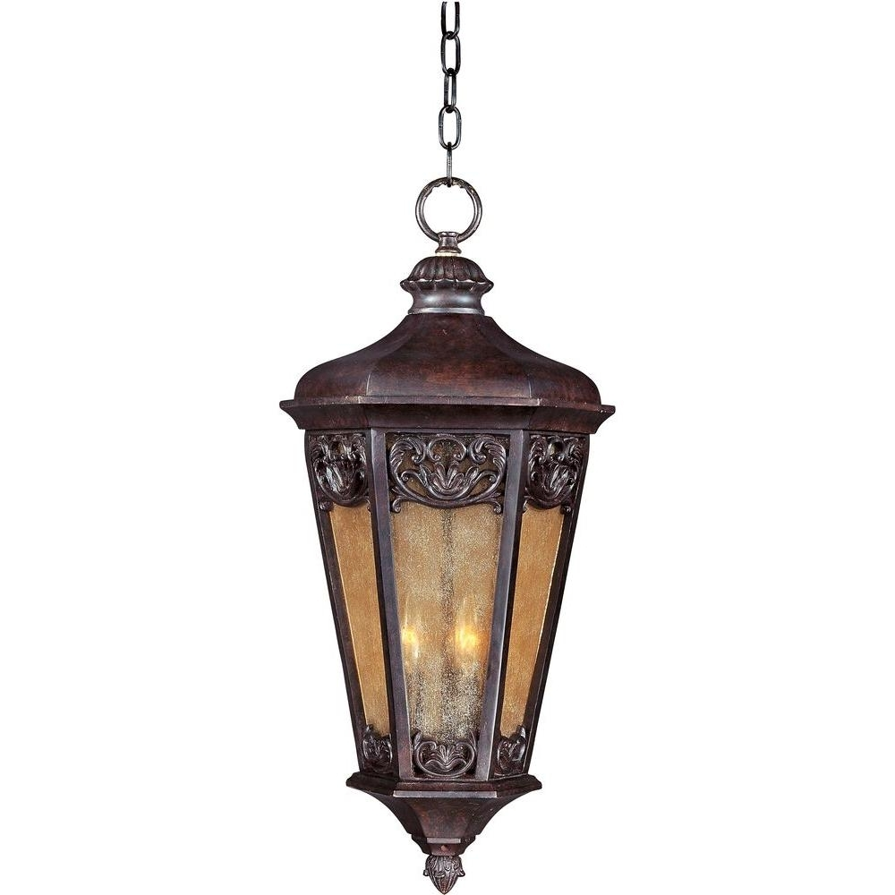 Maxim Lighting Lexington Vivex 3 Light Colonial Umber Outdoor With Regard To Most Current Outdoor Hanging Electric Lanterns (View 10 of 20)