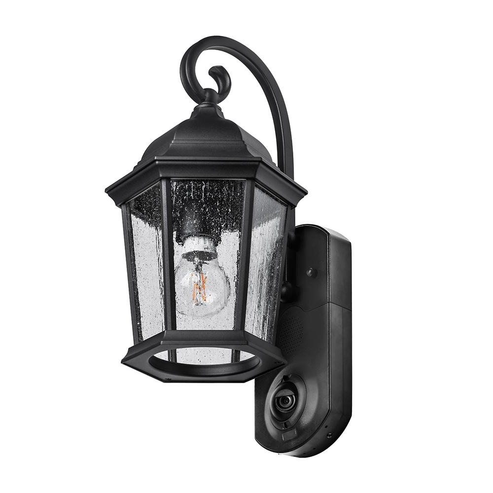Maximus Coach Smart Security Textured Black Metal And Glass Outdoor Throughout Most Current Metal Outdoor Lanterns (View 7 of 20)