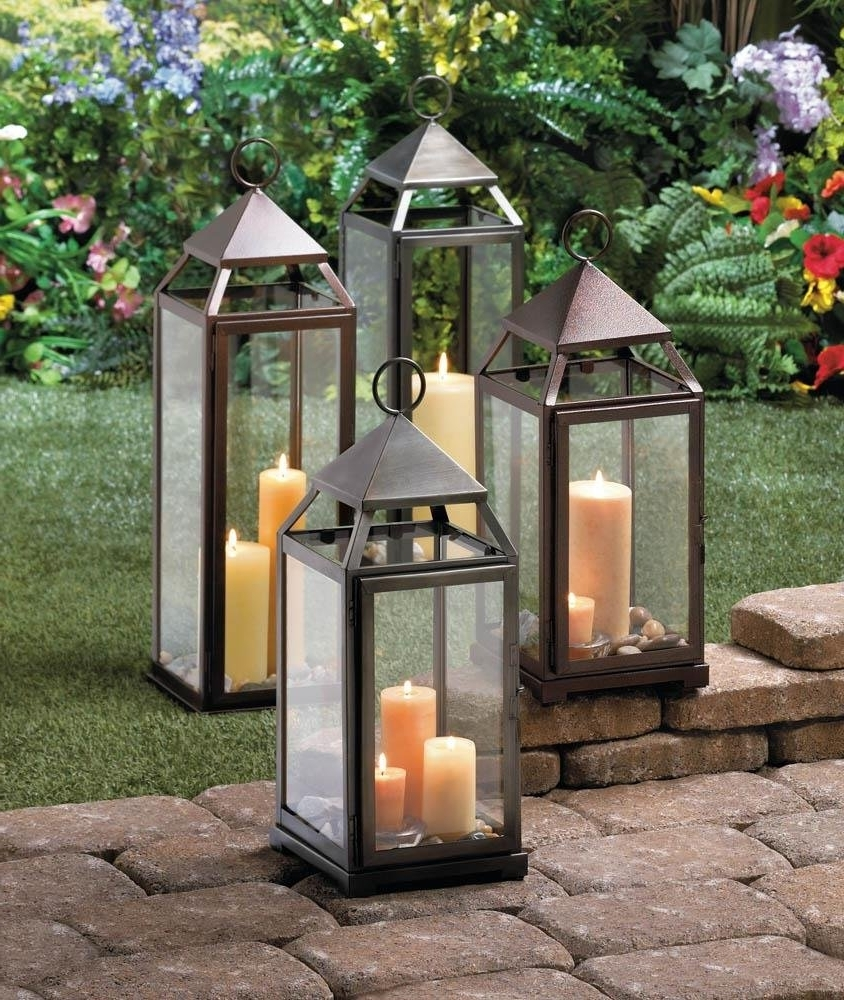Metal Lantern, Large Contemporary Hanging Decorative Floor Patio Inside Recent Outdoor Lanterns For Patio (View 11 of 20)