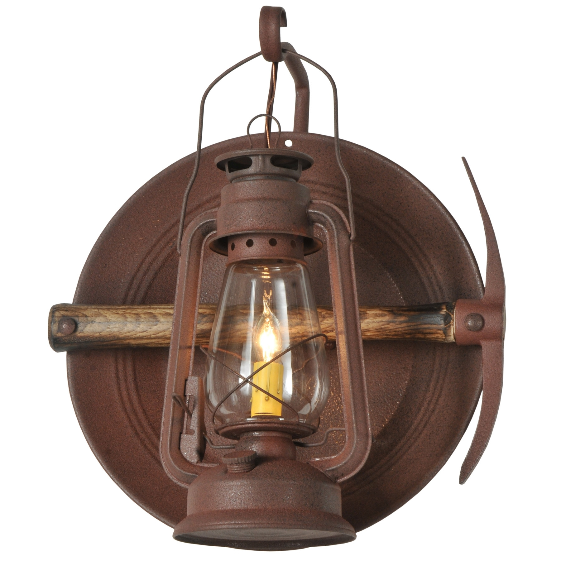 Meyda 114829 Miners Lantern Wall Sconce For Well Liked Rustic Outdoor Electric Lanterns (View 6 of 20)