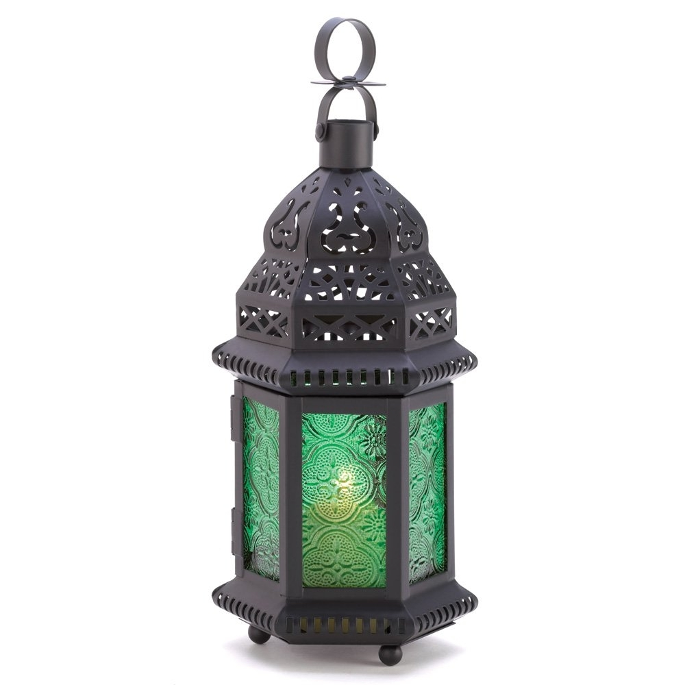 Moroccan Lantern Lamp, Green Glass Large Outdoor Lanterns For Intended For Most Current Outdoor Lanterns And Votives (View 8 of 20)