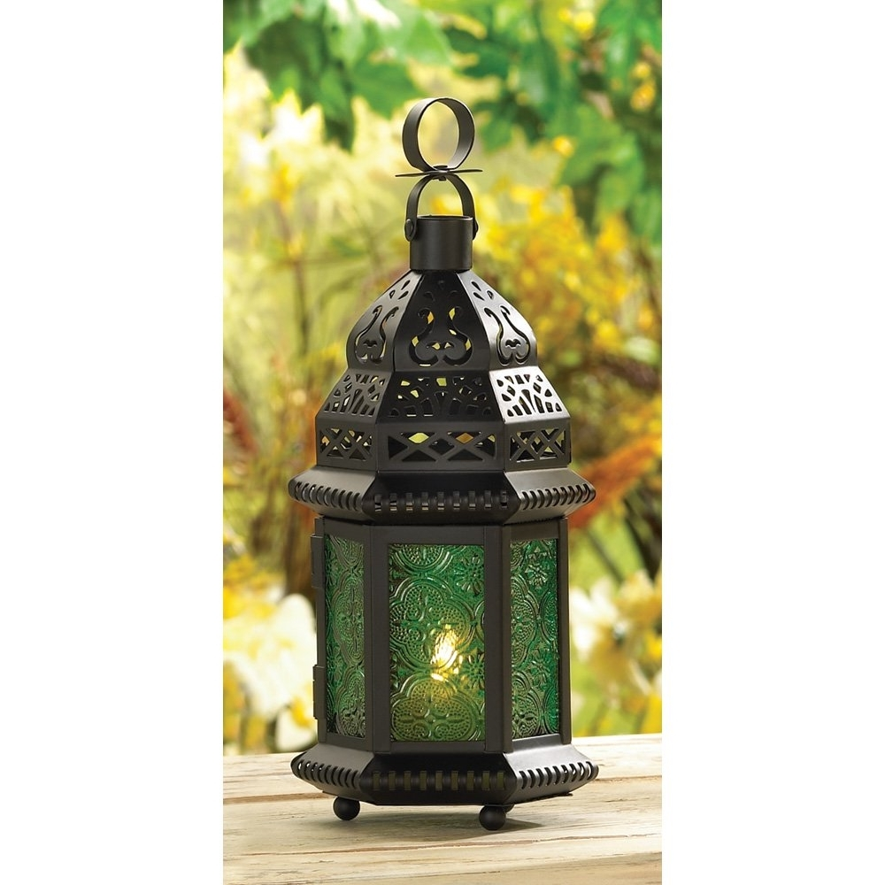 Moroccan Lantern Lamp, Green Glass Large Outdoor Lanterns For Regarding Favorite Outdoor Lanterns And Votives (View 9 of 20)