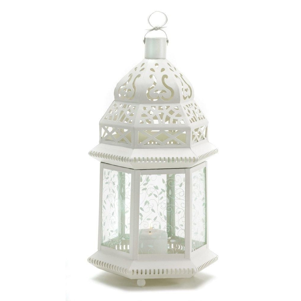 Moroccan Lantern Lamp, White Rustic Decorative Outdoor Lanterns Within Well Known Outdoor Lanterns For Tables (View 8 of 20)