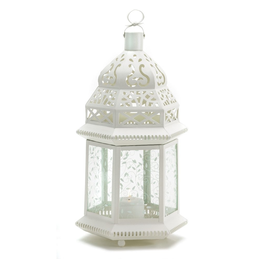Moroccan Lantern Outdoor, Large White Candle Lanterns Decorative With Regard To Recent White Outdoor Lanterns (View 7 of 20)