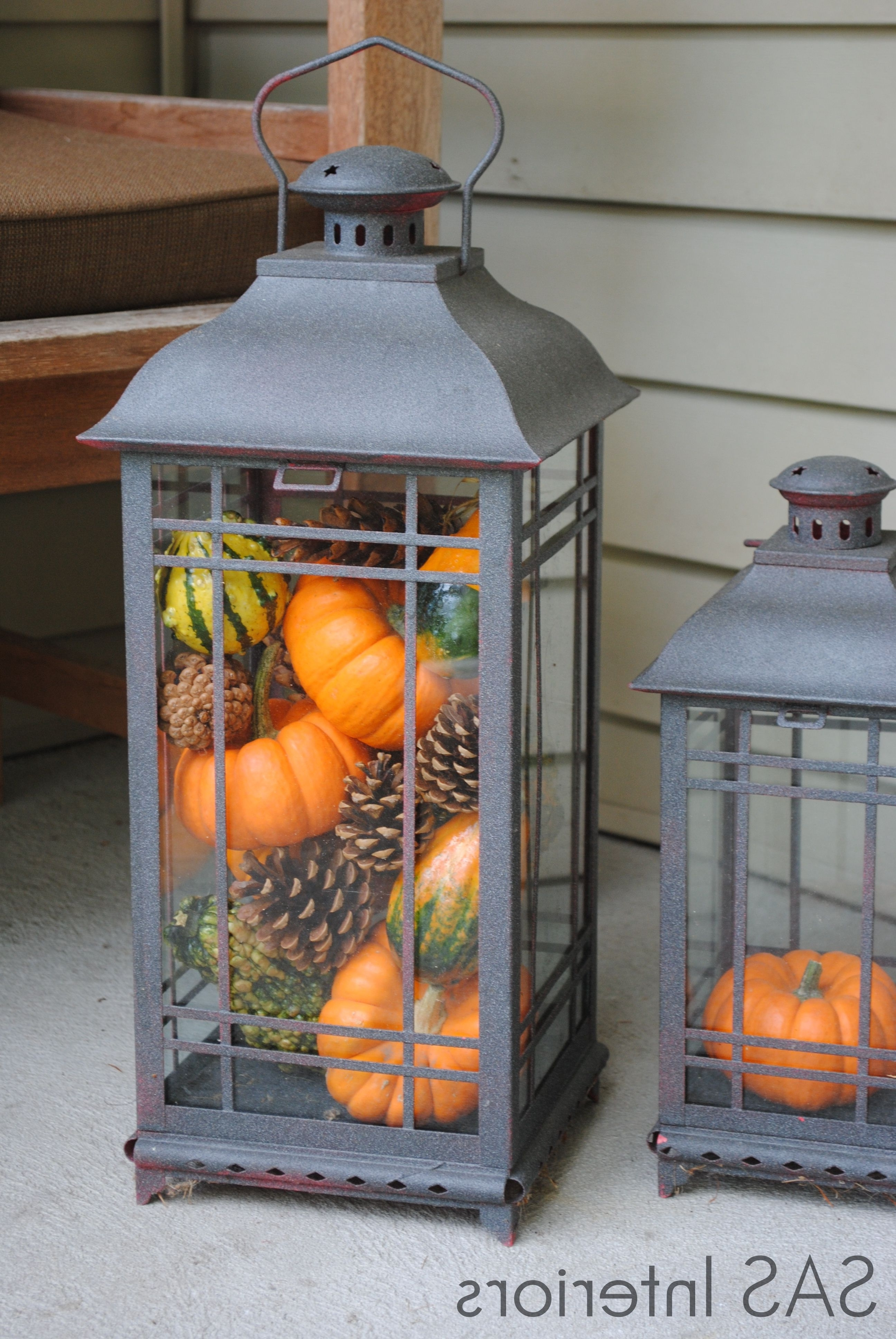 Most Current Autumn Exterior Vignette: Lanterns Filled With Pumpkins, Ghords, And In Outdoor Empty Lanterns (View 14 of 20)