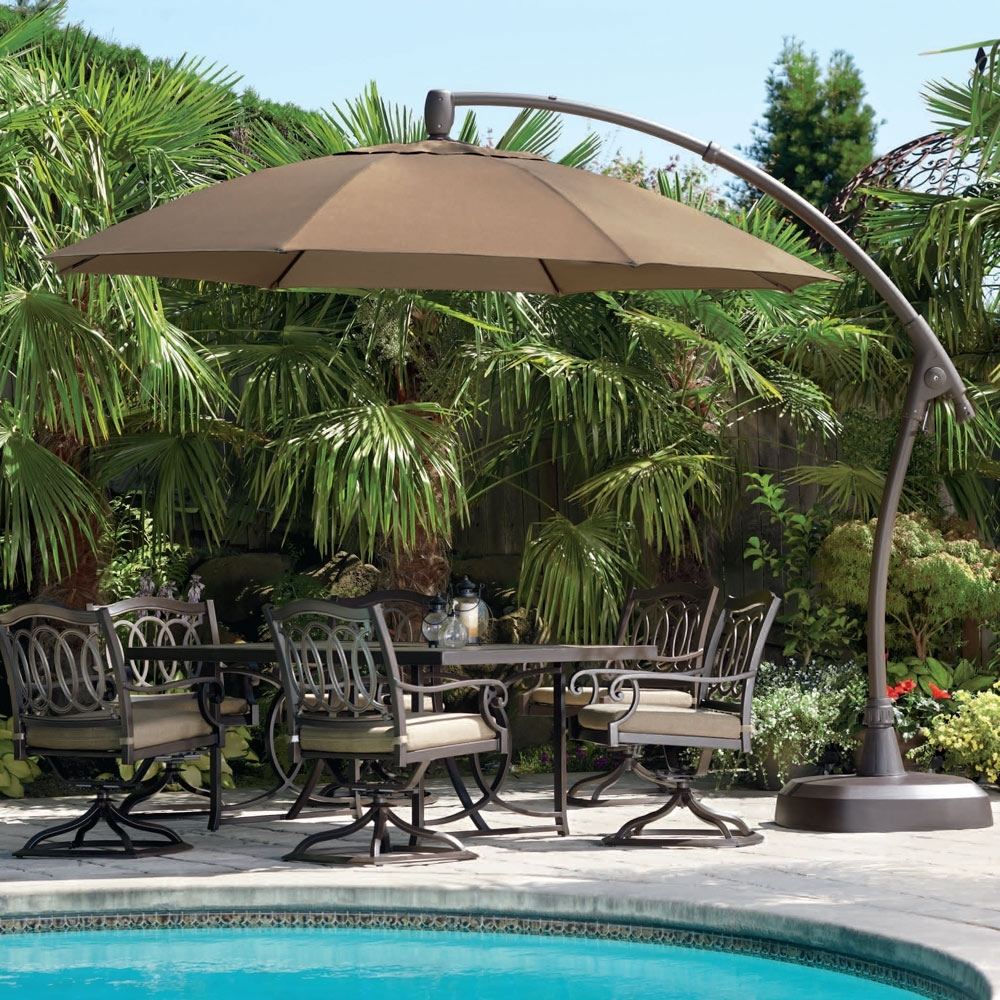 Most Current Costco Patio Umbrellas Regarding Contemporary Tiled Umbrella With Oil Rubbed Bronze Round Costco (View 10 of 20)
