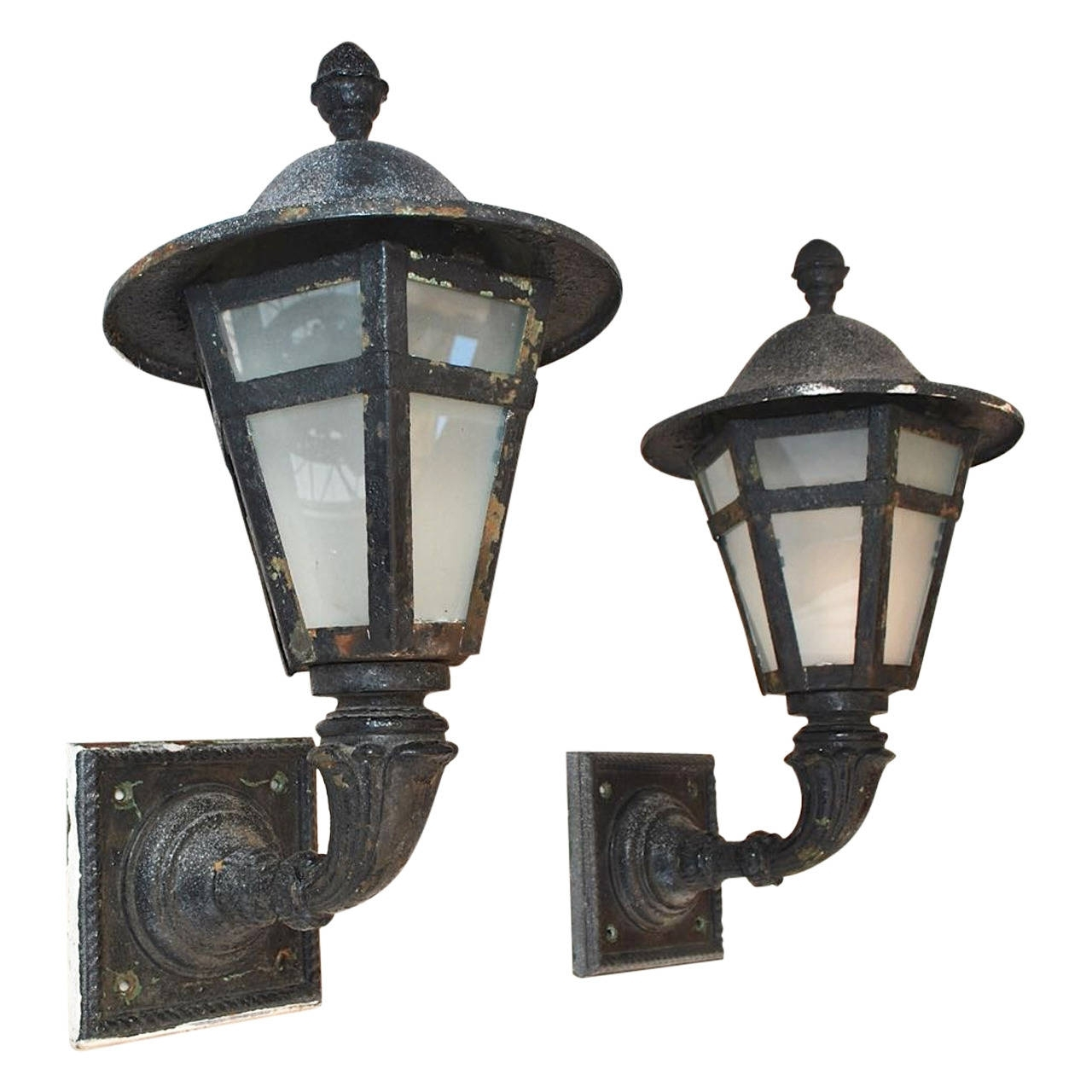 Most Current Outdoor Iron Lanterns Pertaining To Large Pair Of 1920 Cast Iron And Metal Outdoor Sconces For Sale At (View 9 of 20)