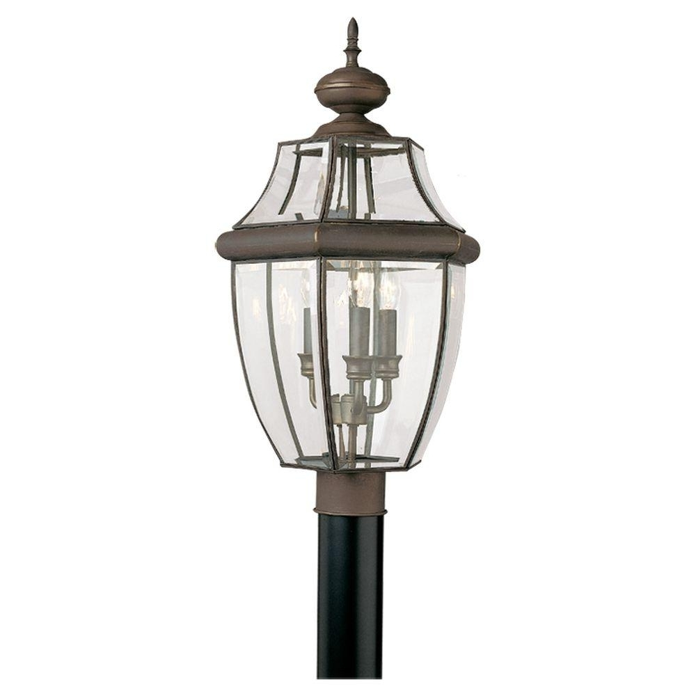 Most Current Outdoor Lanterns On Post In Sea Gull Lighting Lancaster 3 Light Outdoor Antique Bronze Post Top (View 6 of 20)