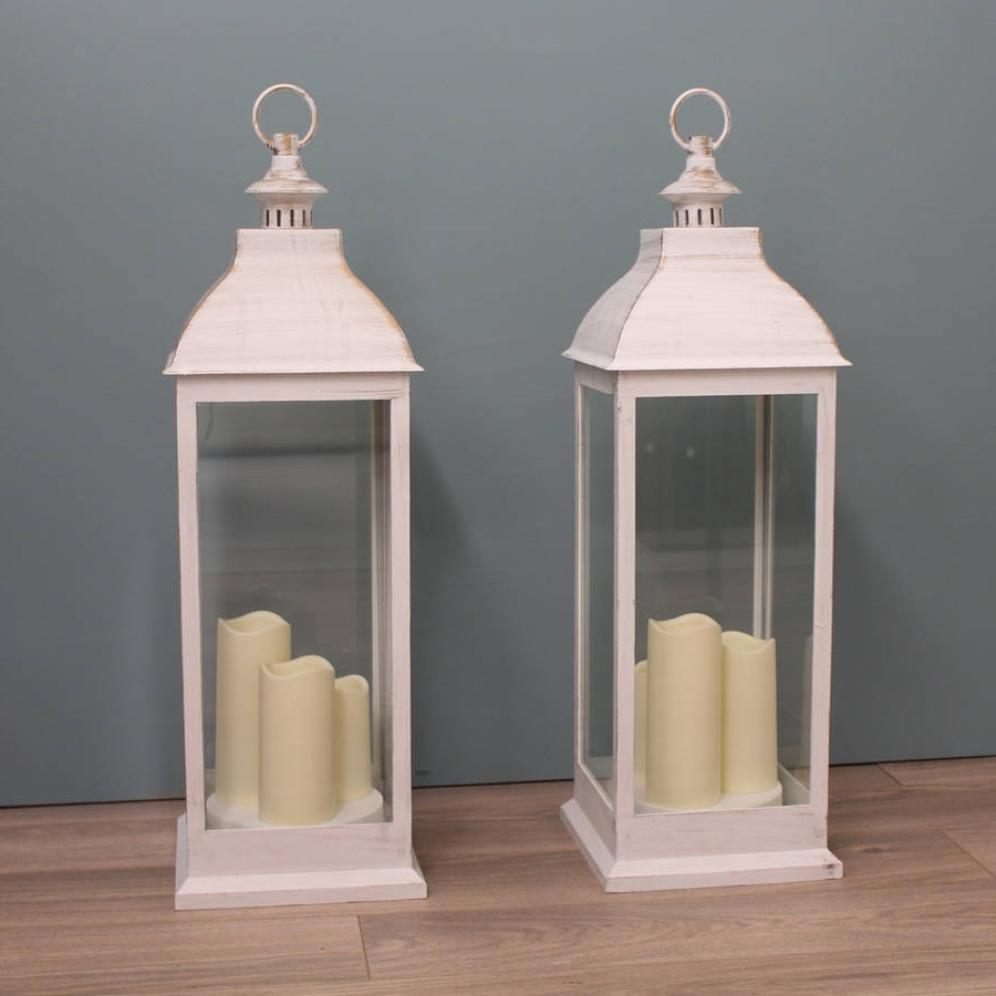 Most Current Outdoor Lanterns With Candles Within Two Firenze Battery Operated Candle Lanterns In Creamgarden (View 10 of 20)