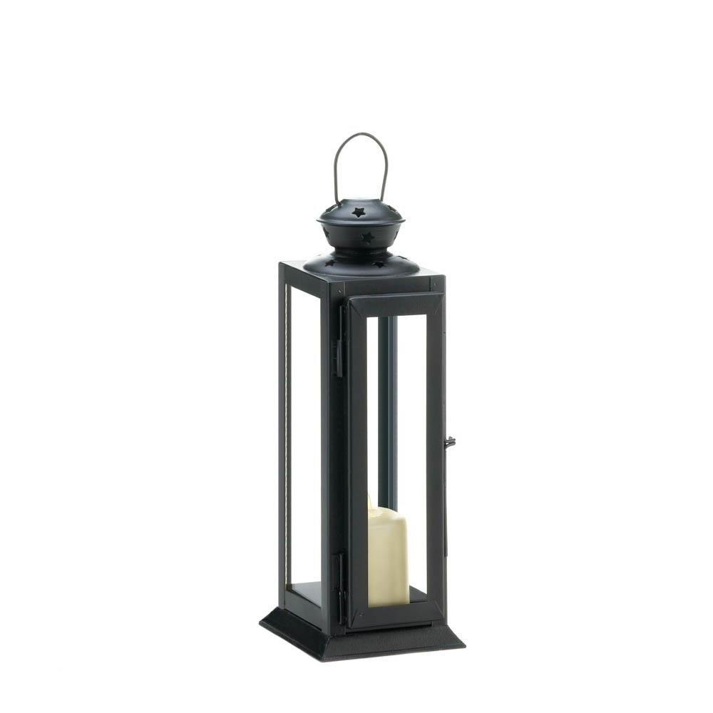 Most Current Outdoor Metal Lanterns For Candles In Metal Lantern Candle Holder, Decorative Black Candle Holder Lantern (View 10 of 20)