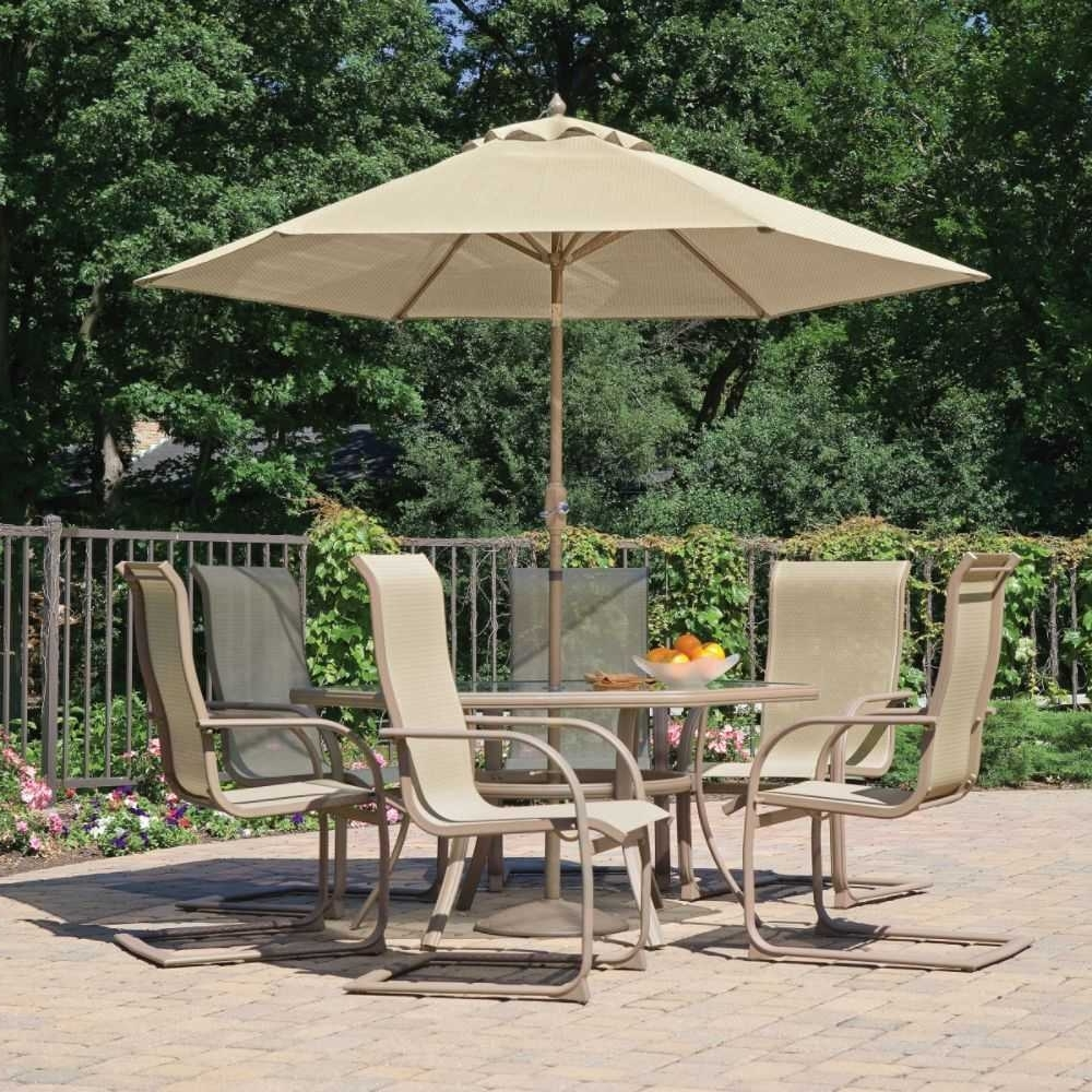 Most Current Patio Furniture Sets With Umbrellas Throughout Patio Table Sets With Umbrella Ideas Charming Seats At (View 18 of 20)