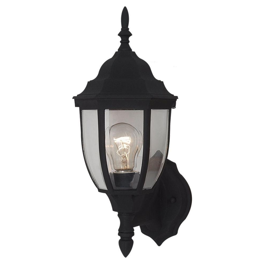 Most Current Resin Outdoor Lanterns Intended For Sea Gull Lighting Bakersville 1 Light Small Black Outdoor Wall (View 3 of 20)