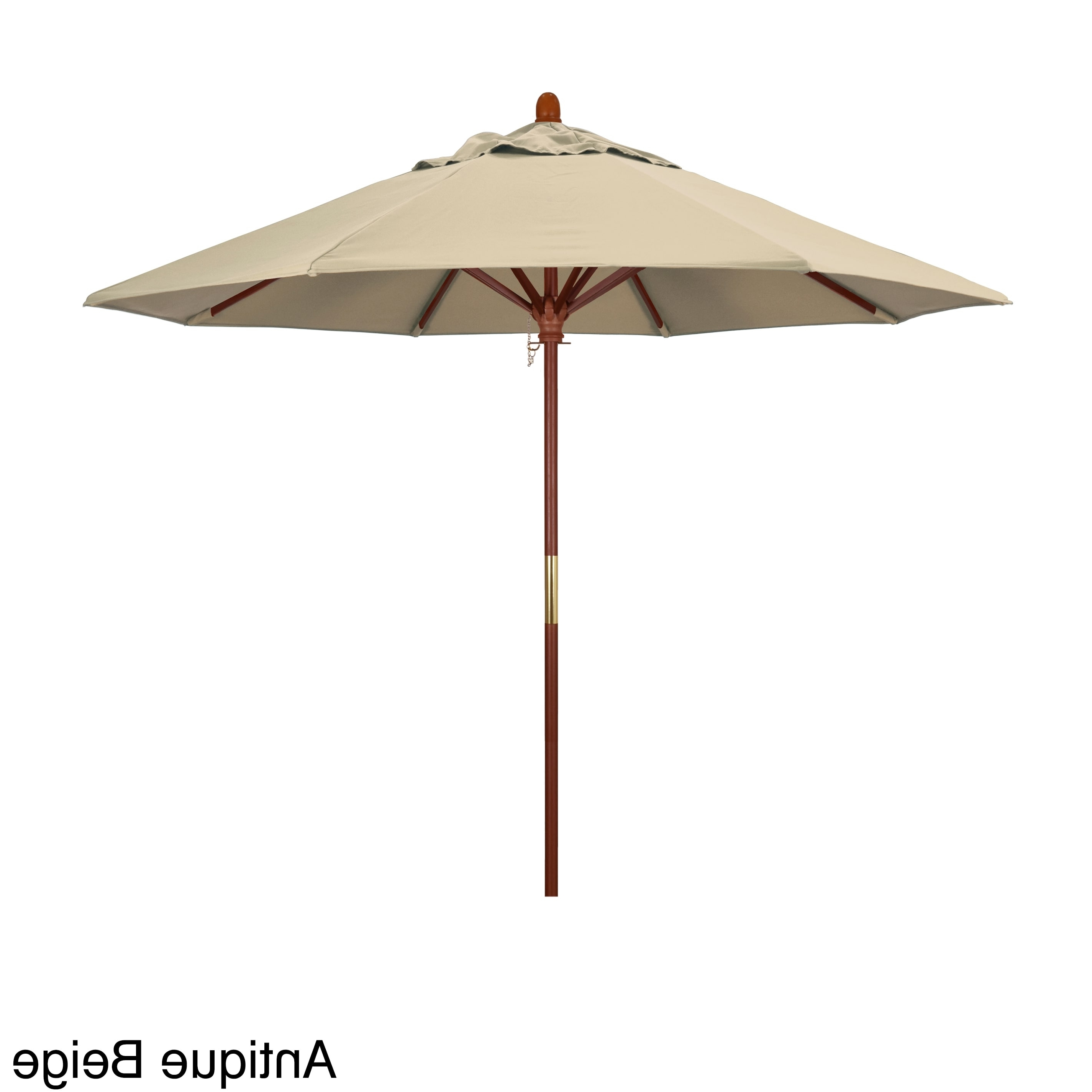 Most Current Shop California Umbrella 9 Foot Marenti Wood Market Umbrella With With Regard To Patio Umbrellas With Sunbrella Fabric (View 8 of 20)