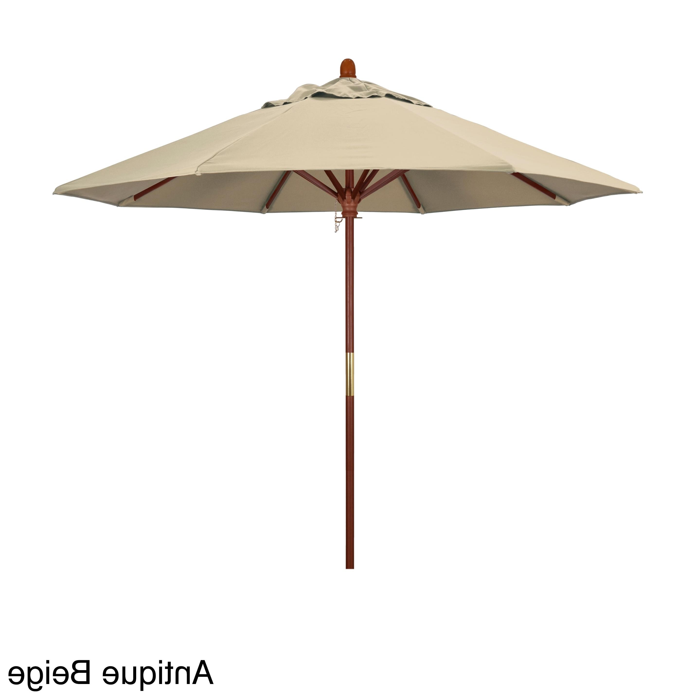 Most Current Shop California Umbrella 9 Foot Marenti Wood Market Umbrella With With Regard To Patio Umbrellas With Sunbrella Fabric (View 11 of 20)