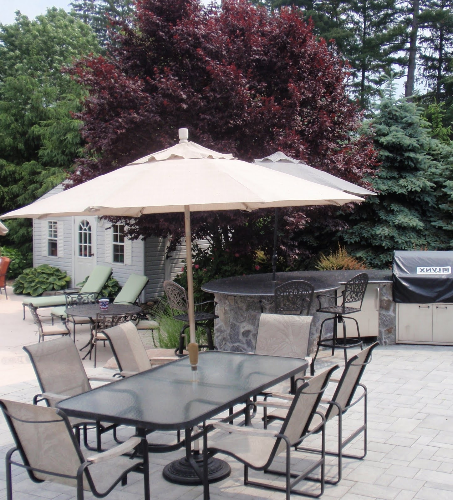 Most Current Small Patio Umbrellas Regarding Garden: Enchanting Outdoor Patio Decor Ideas With Patio Umbrellas (View 5 of 20)